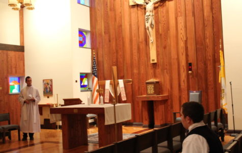 Fr. David Offers Eucharistic Adoration during Activity Periods at DCC
